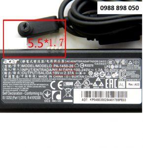 Sạc laptop Acer 19V 2.37A (45W) chân cắm 5.5*1.7mm chính hãng